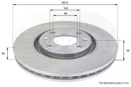 Вентилируемый передний тормозной диск на Пежо 2008 'COMLINE ADC1519V'.