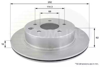 Вентилируемый задний тормозной диск на Рено Колеос 'COMLINE ADC0272V'.