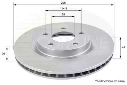 Вентилируемый передний тормозной диск на Рено Колеос 'COMLINE ADC0274V'.