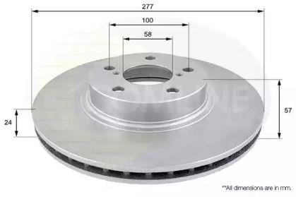 Вентилируемый передний тормозной диск на Субару Легаси Аутбек 'COMLINE ADC0811V'.