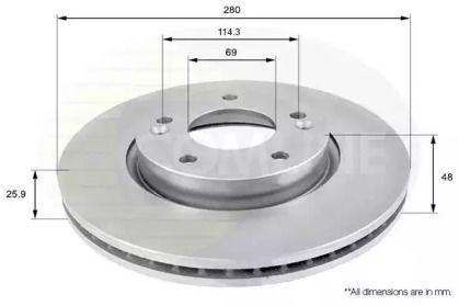 Вентилируемый передний тормозной диск на KIA VENGA 'COMLINE ADC1041V'.