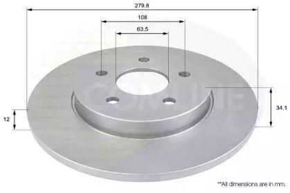 Задний тормозной диск на Ягуар Х-Тайп 'COMLINE ADC1219'.