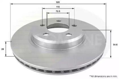 Вентилируемый передний тормозной диск на Додж Чарджер 'COMLINE ADC2322V'.