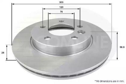 Вентилируемый передний тормозной диск на Фольксваген Амарок 'COMLINE ADC2604V'.