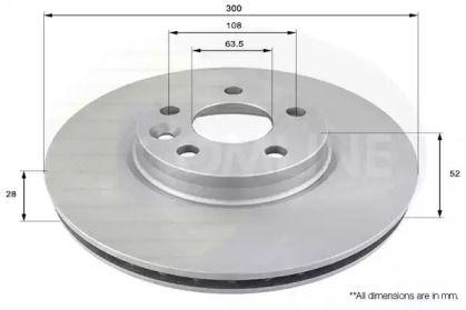 Вентилируемый передний тормозной диск на RANGE ROVER EVOQUE 'COMLINE ADC1237V'.