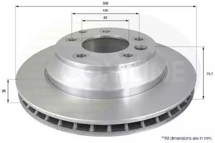 Вентилируемый задний тормозной диск на AUDI Q7 'COMLINE ADC1460V'.