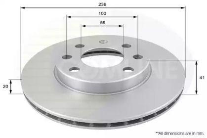 Вентилируемый передний тормозной диск 'COMLINE ADC1047V'.