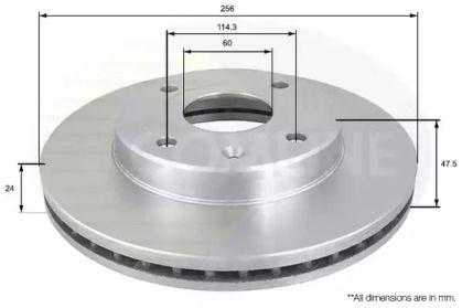Вентилируемый передний тормозной диск на Шевроле Эванда 'COMLINE ADC1054V'.