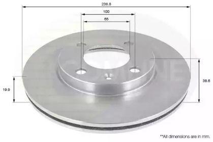 Вентилируемый передний тормозной диск на Фольксваген Гол 'COMLINE ADC1404V'.
