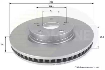 Вентилируемый передний тормозной диск на Тайота Матрикс 'COMLINE ADC01147V'.