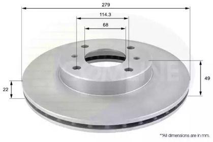 Вентилируемый передний тормозной диск на Ниссан Скайлайн 'COMLINE ADC0252V'.