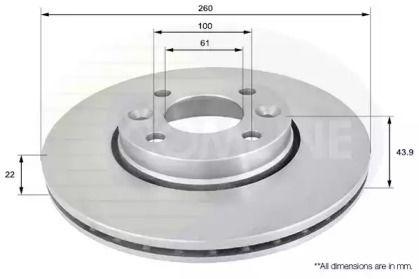 Вентилируемый передний тормозной диск на NISSAN MICRA 'COMLINE ADC0266V'.
