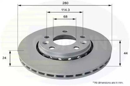 Вентилируемый передний тормозной диск на Ниссан Террано 'COMLINE ADC1585V'.