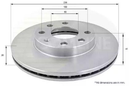 Вентилируемый передний тормозной диск 'COMLINE ADC1008V'.