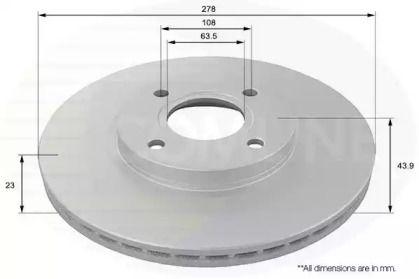 Вентилируемый передний тормозной диск на Форд Торнео Курьер 'COMLINE ADC1260V'.