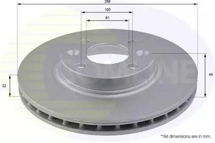 Вентилируемый передний тормозной диск на Смарт Фор фор 'COMLINE ADC2719V'.