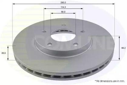 Вентилируемый передний тормозной диск на Ниссан Максима 'COMLINE ADC0260V'.