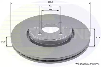 Вентилируемый передний тормозной диск на DACIA DOKKER 'COMLINE ADC1517V'.