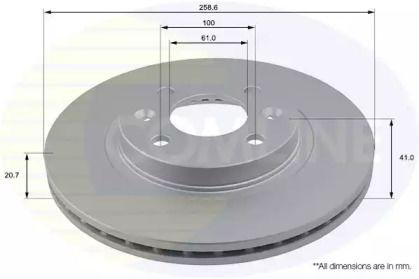 Вентилируемый передний тормозной диск на DACIA LOGAN 'COMLINE ADC1507V'.