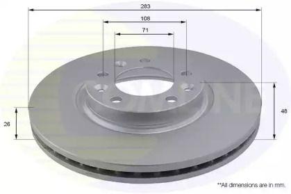 Вентилируемый передний тормозной диск на PEUGEOT 605 'COMLINE ADC2710V'.