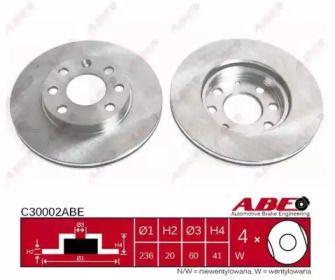 Вентилируемый тормозной диск на OPEL COMBO 'ABE C30002ABE'.