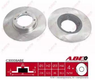 Тормозной диск на DAEWOO MATIZ 'ABE C30008ABE'.