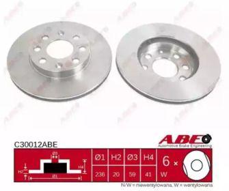 Вентилируемый тормозной диск на CHEVROLET SPARK 'ABE C30012ABE'.