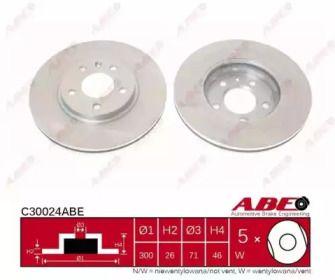 Вентилируемый передний тормозной диск на Опель Каскада 'ABE C30024ABE'.