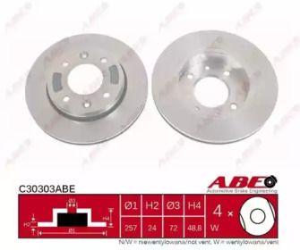 Вентилируемый тормозной диск на KIA CLARUS 'ABE C30303ABE'.