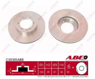 Вентилируемый тормозной диск на Киа Преджио 'ABE C30305ABE'.