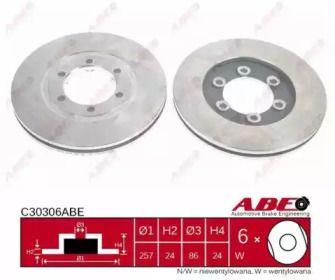 Вентилируемый тормозной диск на KIA K2500 'ABE C30306ABE'.