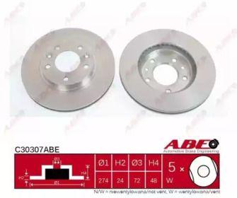Вентилируемый тормозной диск на Киа Карнивал 'ABE C30307ABE'.