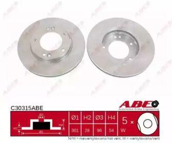Вентилируемый тормозной диск на KIA SORENTO 'ABE C30315ABE'.