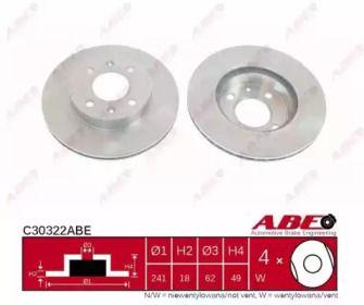 Вентилируемый тормозной диск на KIA PICANTO ABE C30322ABE.