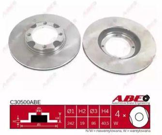 Вентилируемый тормозной диск на HYUNDAI ACCENT 'ABE C30500ABE'.