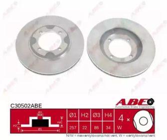 Вентилируемый тормозной диск на HYUNDAI LANTRA 'ABE C30502ABE'.