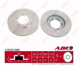 Вентилируемый тормозной диск на Митсубиси Л400 'ABE C30507ABE'.