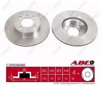 Вентилируемый тормозной диск на HYUNDAI ACCENT 'ABE C30508ABE'.