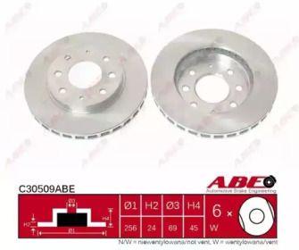 Вентилируемый тормозной диск на Хендай Сантамо 'ABE C30509ABE'.