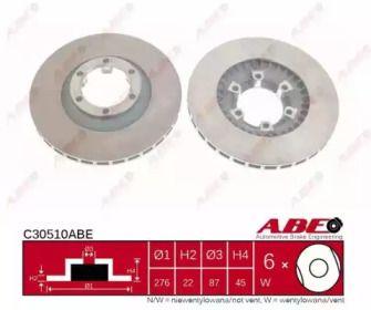 Вентилируемый тормозной диск на Митсубиси Галлопер 'ABE C30510ABE'.