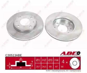 Вентилируемый тормозной диск на Хендай Матрикс 'ABE C30513ABE'.