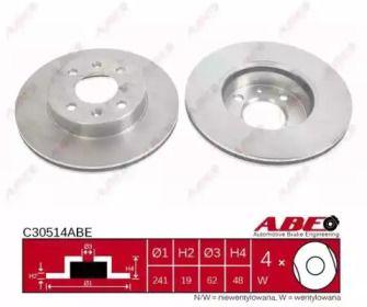Вентилируемый тормозной диск на HYUNDAI GETZ 'ABE C30514ABE'.