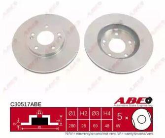 Вентилируемый тормозной диск на Хендай Купэ 'ABE C30517ABE'.