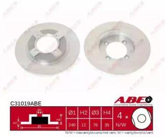 Тормозной диск на Ниссан Санни 'ABE C31019ABE'.