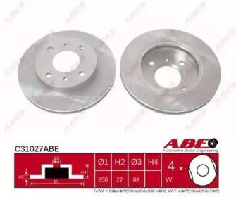 Вентилируемый тормозной диск на Ниссан Блюберд 'ABE C31027ABE'.