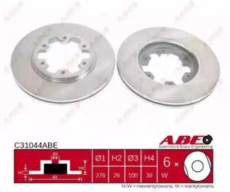 Вентилируемый тормозной диск на NISSAN TERRANO 'ABE C31044ABE'.