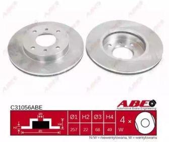 Вентилируемый тормозной диск на NISSAN PRAIRIE 'ABE C31056ABE'.