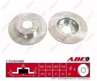 Вентилируемый тормозной диск на NISSAN SUNNY 'ABE C31060ABE'.