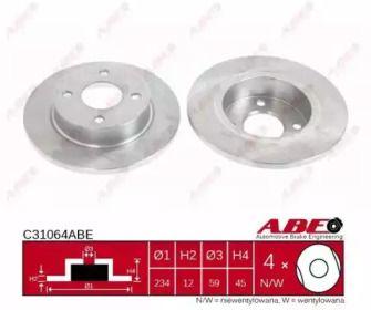 Тормозной диск на NISSAN MICRA 'ABE C31064ABE'.