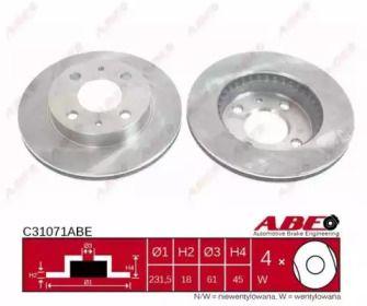 Вентилируемый передний тормозной диск на NISSAN SUNNY 'ABE C31071ABE'.